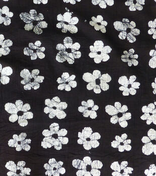Textured Cotton Batik Apparel Fabric-White Floral on Black