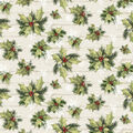 Christmas Cotton Fabric-Holly On Wood