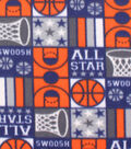 Blizzard Fleece Fabric -Basketball Patchwork