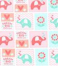 Nursery Flannel Fabric 42\u0022-Coral Dream Big Patch