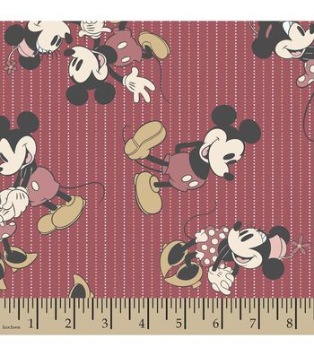 Disney Mickey and Minnie Mouse Print Fabric-Stripes