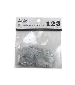 Fab Lab Craft 36 pk Galvanized Numbers & Symbols
