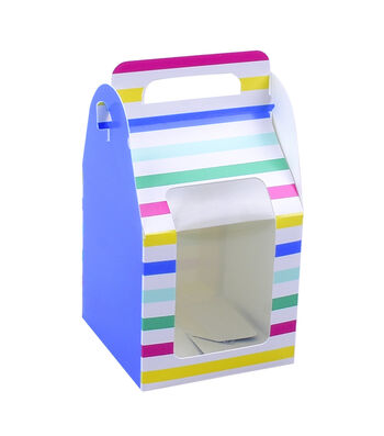 Hello Summer Baking 4 pk Small Treat Boxes with Window-Stripes