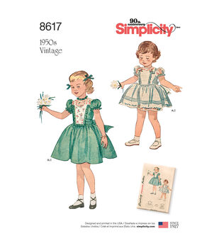 Simplicity Pattern 8617 Toddlers' Vintage Dress & Panties-Size A (1/2-4)