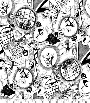 Disney Nightmare Before Christmas Halloween Knit Fabric-Tossed World