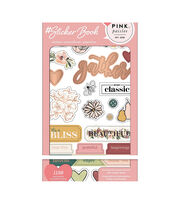 American Crafts Sticker Book 4.75''X8''-Pink Paislee W/Gold Foil, , hi-res