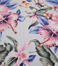 Rayon Linen Apparel Fabric-Tropical Floral on White
