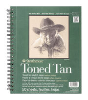 "Strathmore Toned Sketch Spiral Paper Pad 9""X12""-Tan 50 Sheets, , hi-res"
