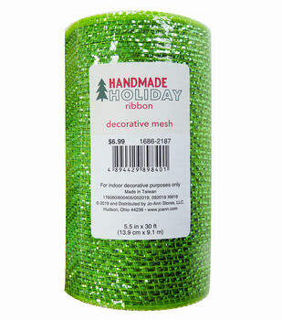 Handmade Holiday Decorative Metallic Mesh Ribbon 5.5''x30'-Lime