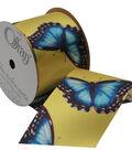 Offray 2.25\u0022 x 9\u0027 Butterfly Ribbon-Blue/Yellow