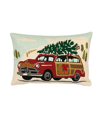 3R Studios Christmas 14''x22'' Embroidered Cotton Pillow-Car Image