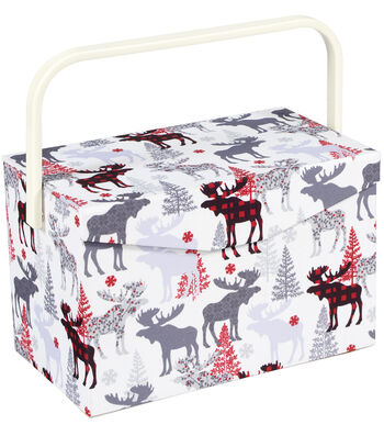 Everything Mary Tall Rectangle Sewing Box with Handle-Moose