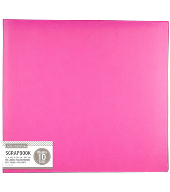 K&Company 12''x12'' Faux Leather Basic Scrapbook-Bright Pink