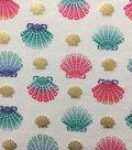 Doodles Cotton Spandex Fabric-White Gold Foil Shells