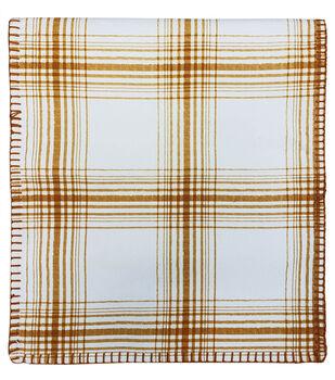 Simply Autumn 14''x72'' Table Runner-Orange Plaid on White