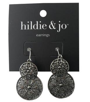 hildie & jo Circle Antique Silver Earrings