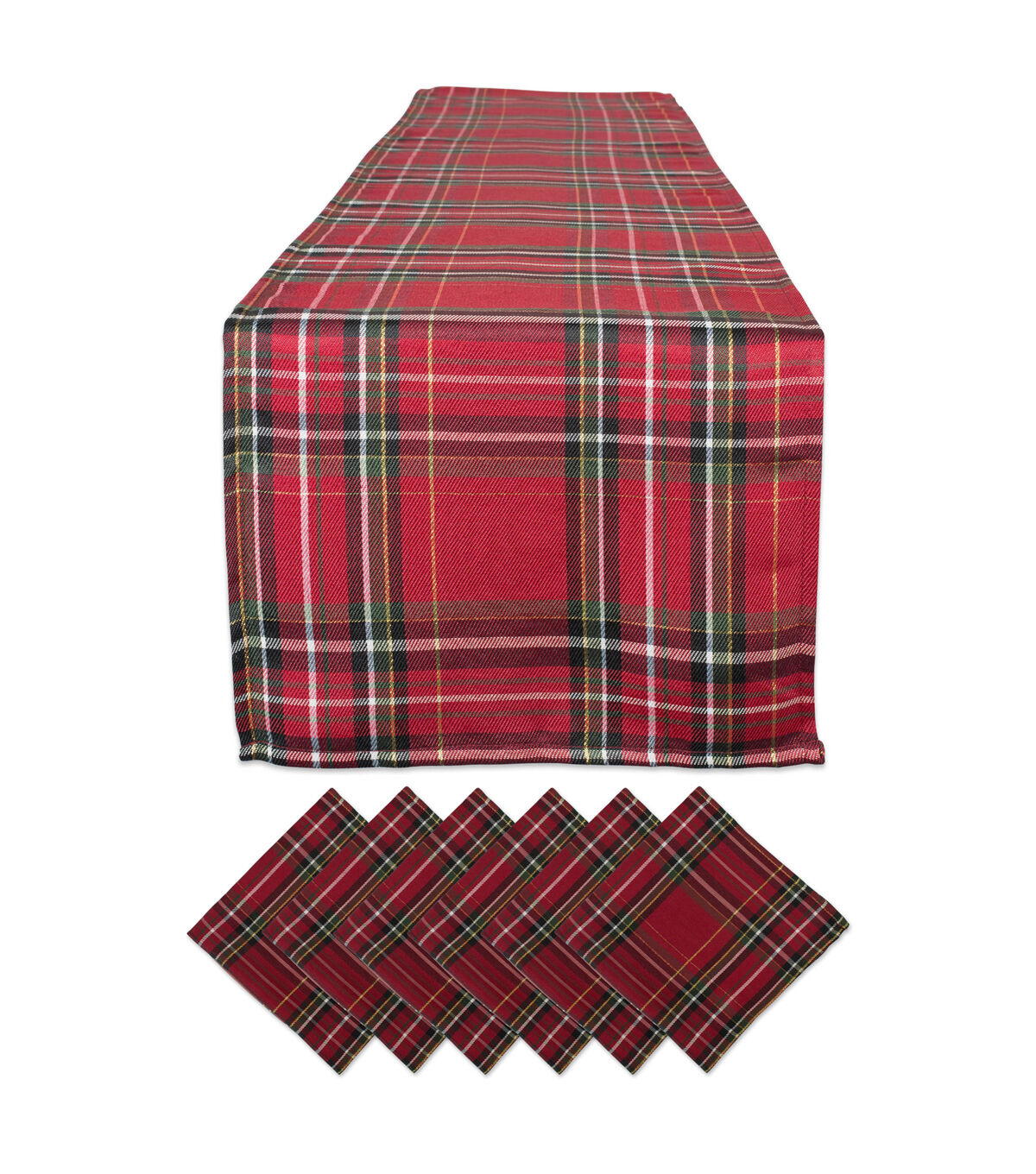Fabric-Holly Stripe on Black Red Checked Bows