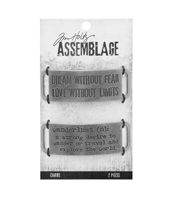 Tim Holtz Assemblage Pack of 2 Metal Bands Charms