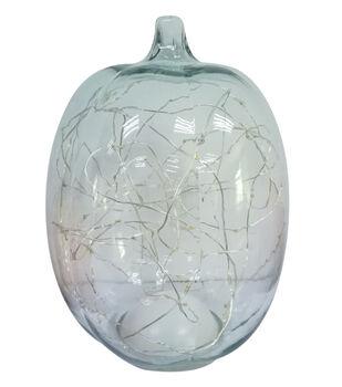 "Simply Autumn 9"" LED Glass Pumpkin-Clear"
