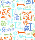 Snuggle Flannel Fabric-Sniff Sniff Woof Grr Blue