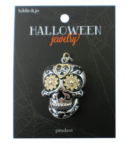 hildie & jo Halloween Skull Silver Pendant with Gold Flower Eyes, , hi-res