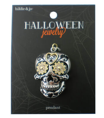 hildie & jo Halloween Skull Silver Pendant with Gold Flower Eyes