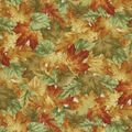 Harvest Cotton Fabric-Multi Colored Fall Leaves