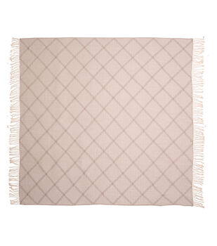 Simply Autumn 50x60'' Plaid Throw-Cream