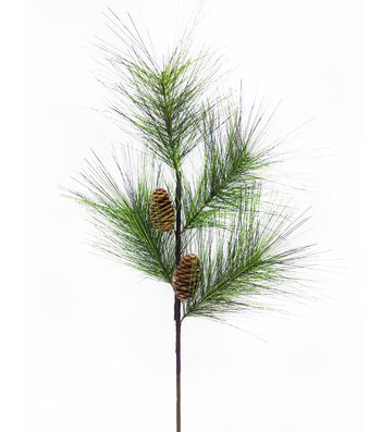 Blooming Holiday 18'' Pinecone & Long Needle Pine Spray-Light Green