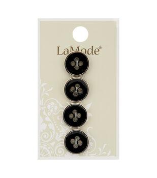 La Mode 4 pk 16 mm Black 4 Hole Buttons with Silver Rim