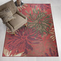 Ruggable Washable 5x7\u0027 Area Rug-Mum Floral Red