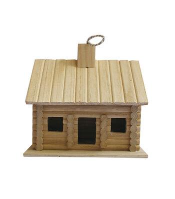Unfinished Wood Birdhouse-Log Cabin