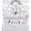 No Sew Fleece Throw-Animals In Ark Mint