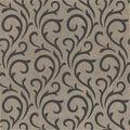 Ophelia Charcoal Scroll Wallpaper Sample