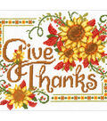 Give Thanks Sunflowers Counted Cross Stitch Kit 14 Count