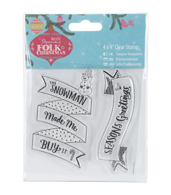Papermania Folk Christmas Clear Stamps-Snowman