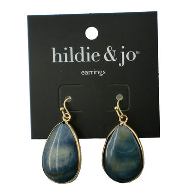 hildie & jo Teardrop Antique Gold Earrings-Blue Shell