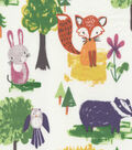Snuggle Flannel Fabric -Watercolor Woodland Animals on White
