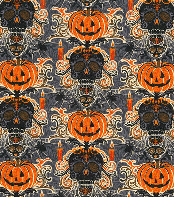 "Halloween Cotton Fabric 44""-Glitter Bewitched Skulls"