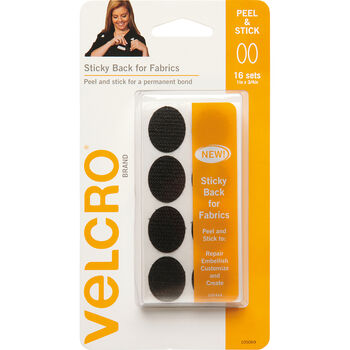 "VELCRO Brand Sticky Back For Fabric 1""x3/4"" Ovals, Black, 16 ct"
