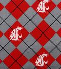 Washington State University Cougars Fleece Fabric 58\u0022-Argyle