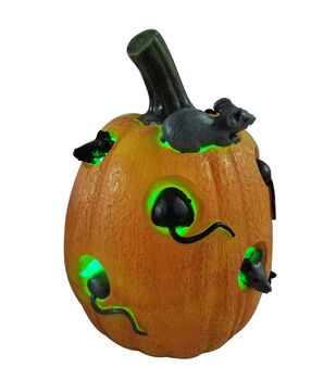 Maker's Halloween Tall Resin Novelty Pumpkin with LED Lights & Mice