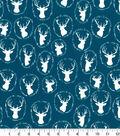 Quilter\u0027s Showcase Cotton Quilt Fabric 44\u0022-Deer Head Teal