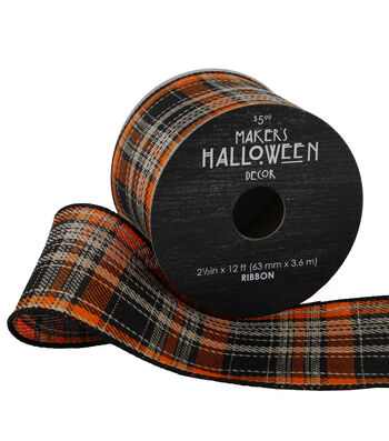 Maker's Halloween Ribbon 2.5''x12'-Rustic Plaid