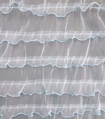 Double Ruffle Fashion Fabric 57''-Icy Blue