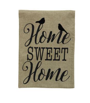 Hello Spring Gardening 12''x18'' Burlap Flag-Home Sweet Home