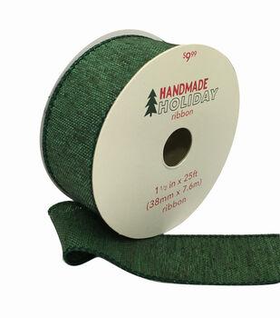 Handmade Holiday Christmas Textured Ribbon 1.5''x25'-Hunter Green