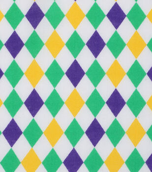 Mardi Gras Cotton Fabric-Diamonds White