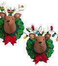 Bucilia Hanging Reindeer Heads Felt Applique Kit-Jingle & Belle
