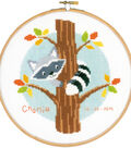 Vervaco 8\u0027\u0027 Counted Cross Stitch Kit-Raccoon in Tree & Birth Record